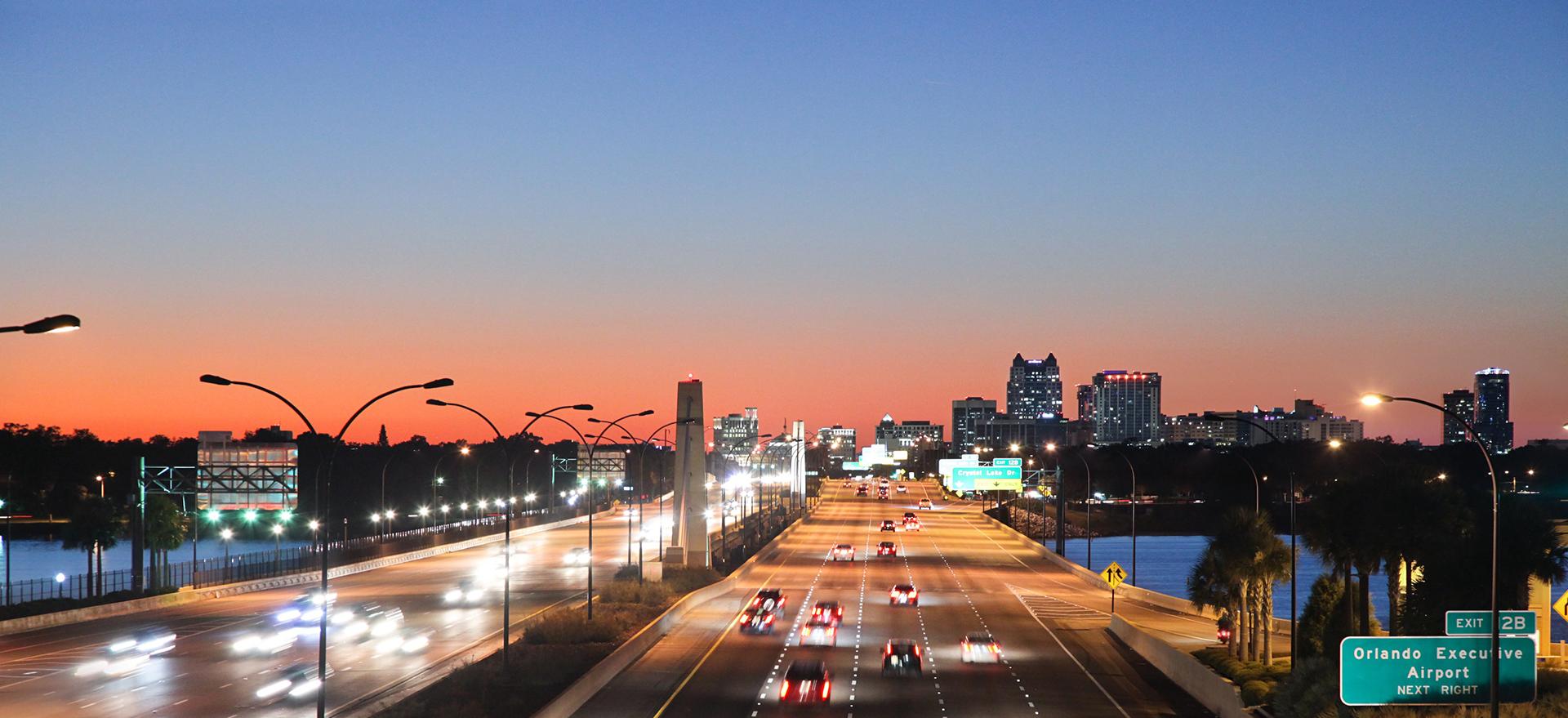408 Expressway at twilight