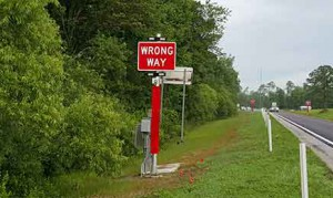 Wrong Way signage along Central Florida Expressway