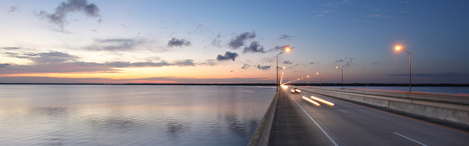 Central Florida Expressway bridge at dusk