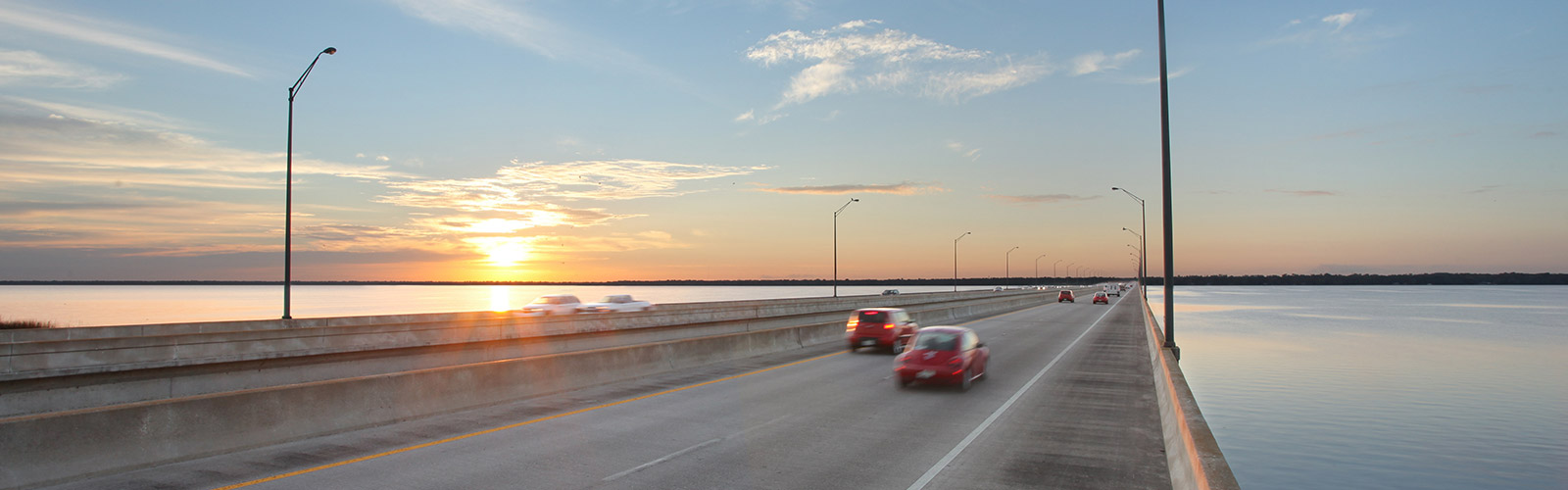 Central Florida Expressway bridge at sunset