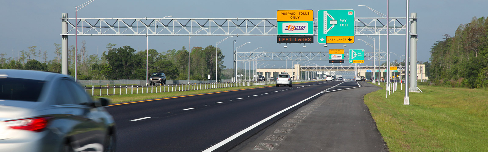 Central Florida Toll Road with toll plaza in background