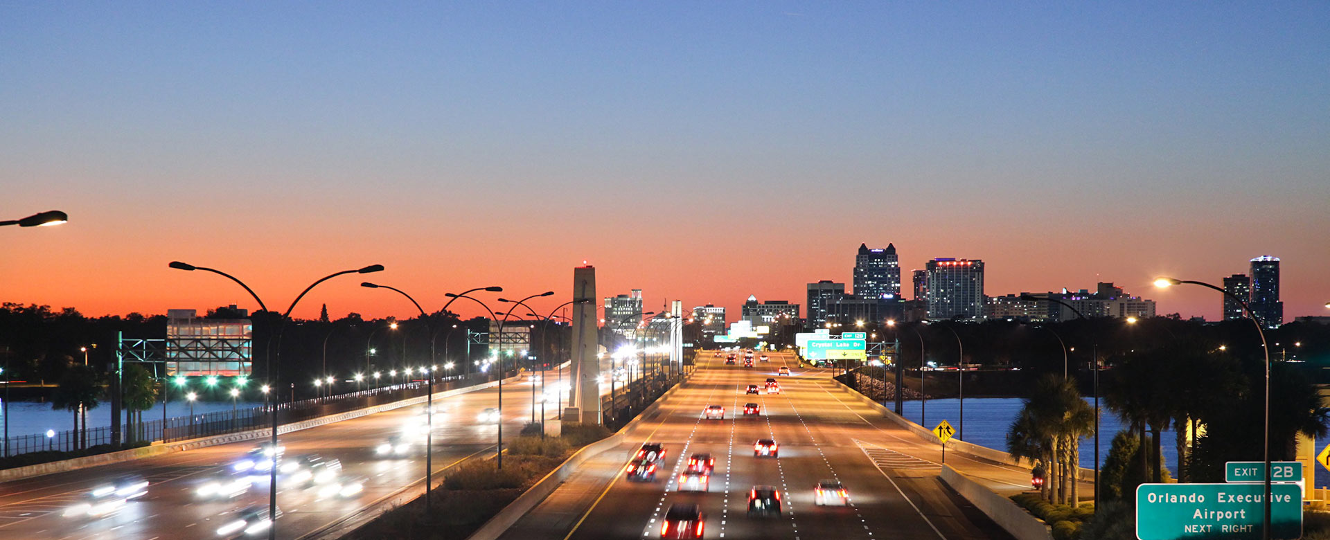 Central Florida Expressway toll road 408 near downtown Orlando at twilight