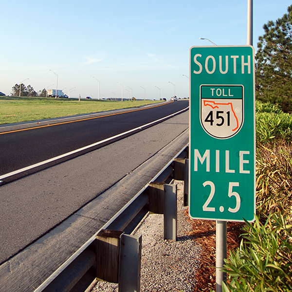 Mile marker 2.5 on Central Florida Expressway toll road 451 south