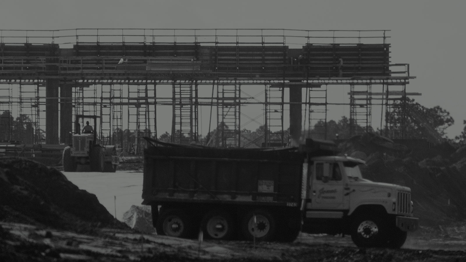 Construction of concrete support pylons for Central Florida Expressway toll road 417