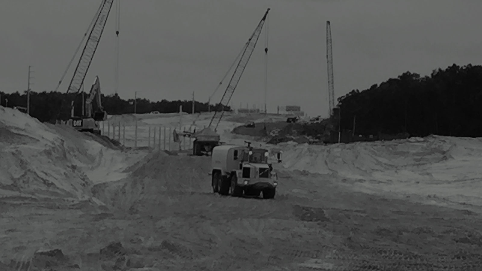 Construction equipment working to build Central Florida Expressway Wekiva Parkway