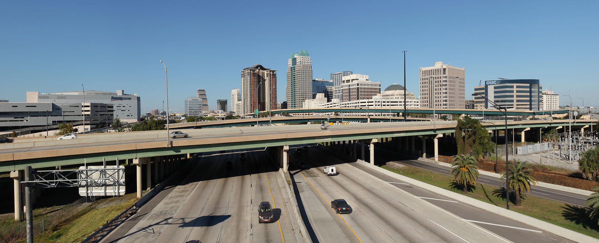 Central Florida Expressway toll road 408 overpass crossing Interstate 4 in downtown Orlando