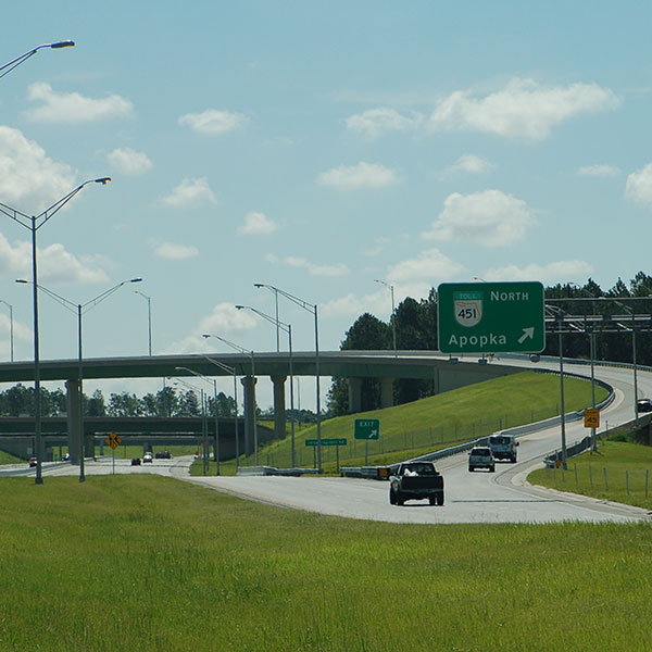 Central Florida Expressway toll road 429 interchange to toll road 451 to Apopka