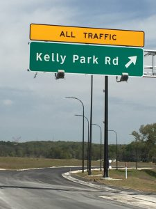 Kelly Parkway exit ramp sign