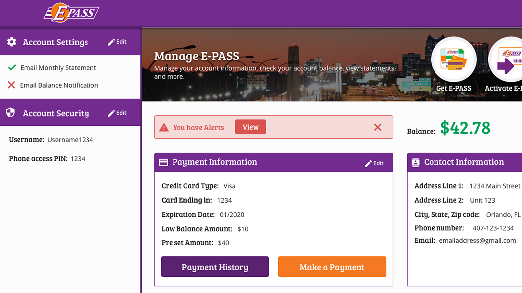 Your redesigned online E-PASS account