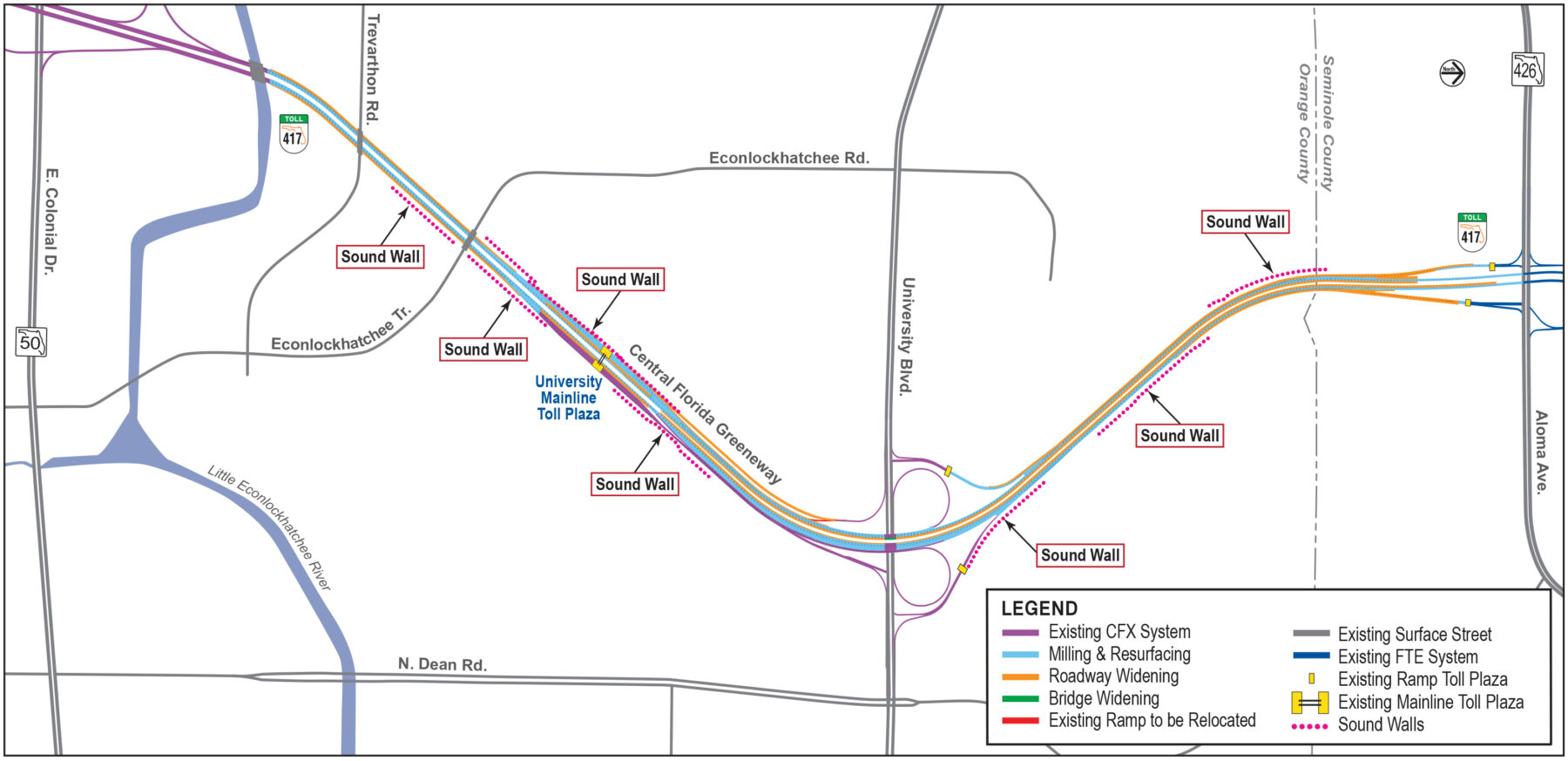 Project Map for State Road 417 Widening Project South of North Econlockhatchee Trail to the Orange/Seminole County Line