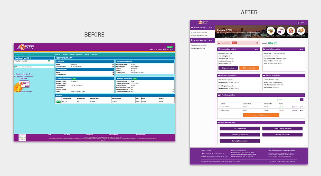 Side-by-side comparison of E-PASS website before and after redesign