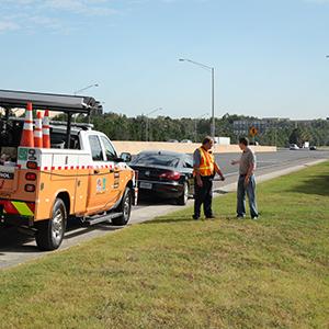 Road Ranger helping motorist along Central Florida Expressway