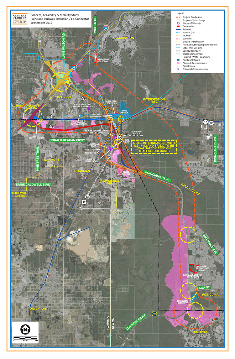 Central Florida Expressway Authority Concept, Feasibility & Mobility Study Map for Poinciana Parkway Extension/Interstate-4 Expressway