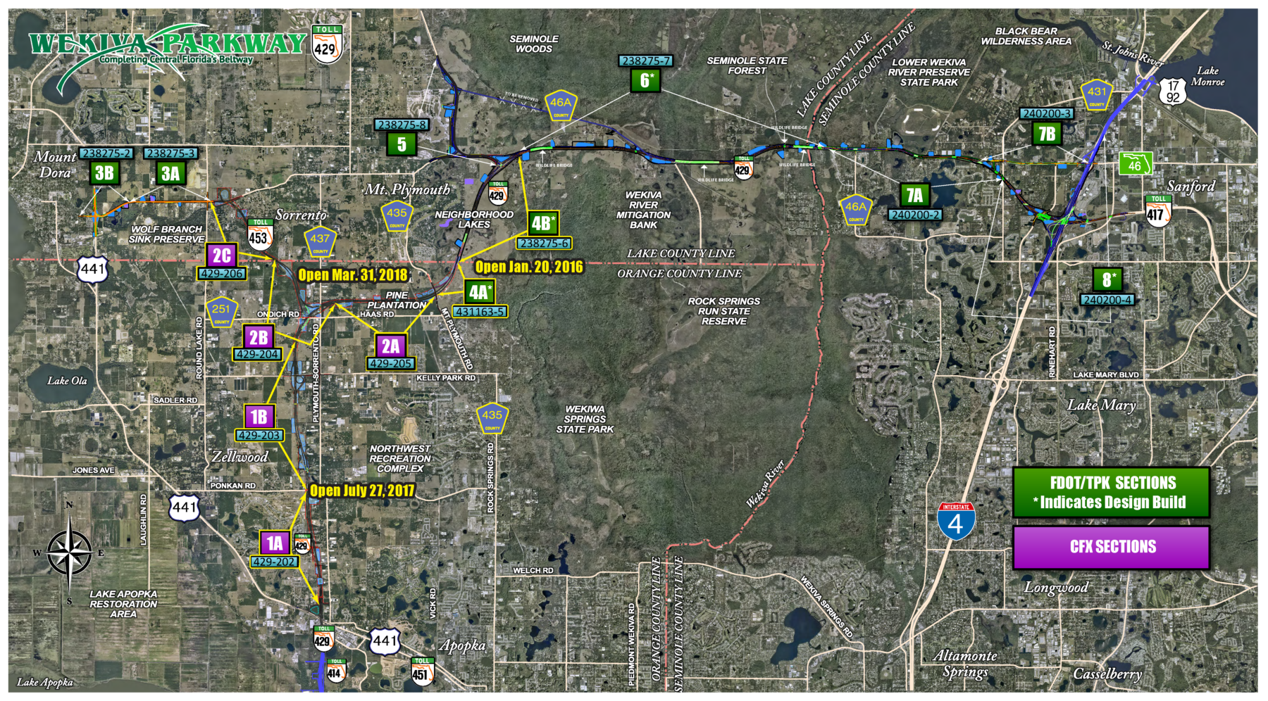 Wekiva Parkway Map indicating opening dates for new sections