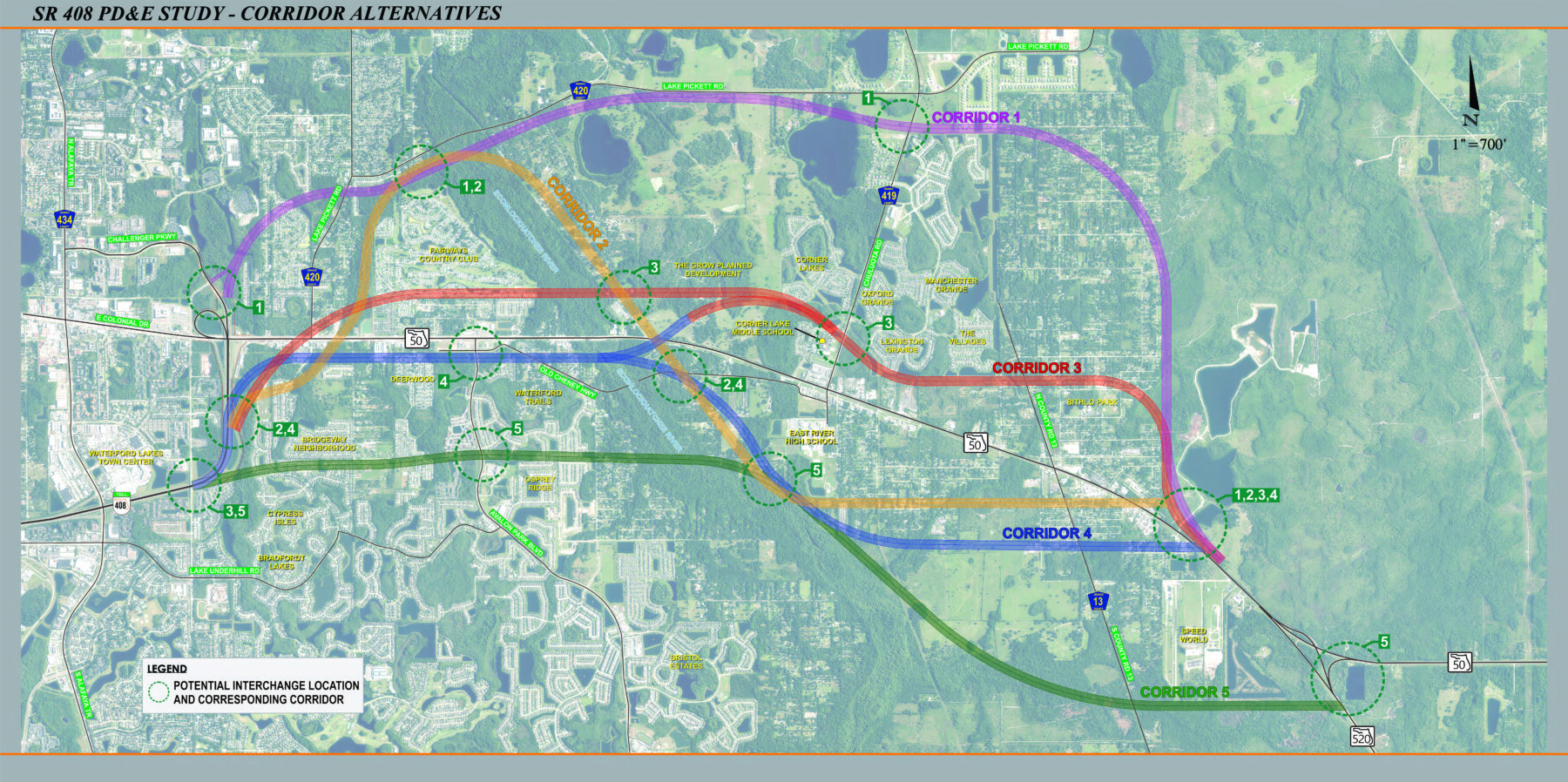 State Road 408 Eastern Extension PD&E Study possible corridors