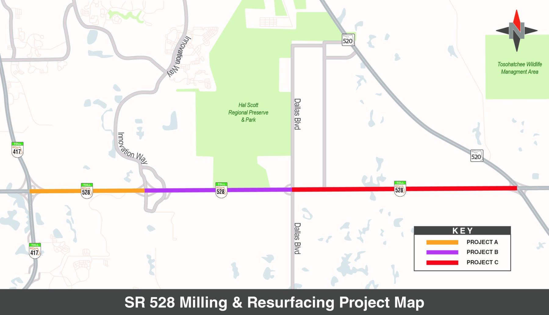 State Road 528 Milling and Resurfacing Project Map